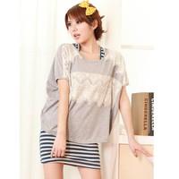 Áo thun dệt kim form rộng ráp ren xinh xắn-A1031