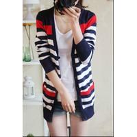 Áo khoác len dệt kim cardigan nữ dài tay, kẻ ngang, thời trang-AK585