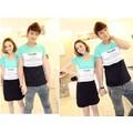Set couple áo nam_váy nữ phối 3 mãnh họa tiết NAME , XB 510