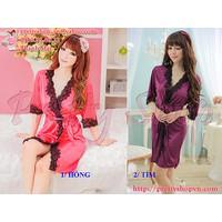 DN031 - Bộ đầm ngủ áo choàng viền ren phi thun sexy kèm quần lót