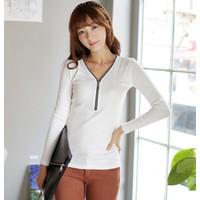 Áo thun nữ Hàn Quốc form ôm tay dài có dây kéo ngực áo E 512