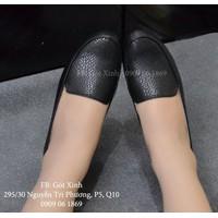 Giày búp bê mọi chi tiết đan rổ màu đen-GX175