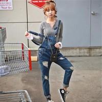 quần jeans yếm rách - Mã: QD671 - XANH ĐẬM