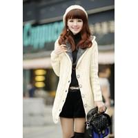 Áo khoác len nữ phome dài liền mũ phối lông nhung mềm mịn ấm áp-AK623