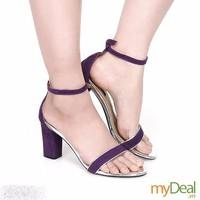 Giày cao gót đế vuông nhung tím - MD1792