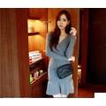 Đầm len gân sọc dài tay ôm body duyên dáng,nữ tính-D3026