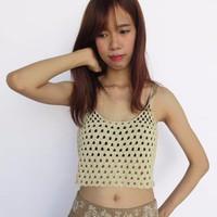 Áo Crop top móc bằng len - Handmade - BC67
