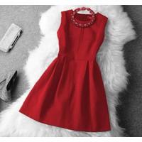 SHOP CÚN-Hàng Loại1-Đầm Xoè Chữ Thập Noel Đỏ Cao Cấp-F81003
