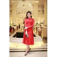 Đầm Ren Đỏ Dự Tiệc Tay Dài Đẹp Như Huyền My 2575