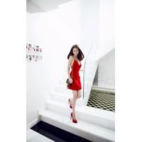 Đầm xòe đỏ hai dây Ngọc Trinh D353