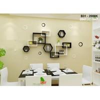 Kệ gỗ treo tường phòng ăn - kệ phòng bếp đẹp