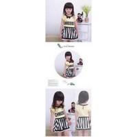 Bộ áo đính nơ phối váy sọc trắng đen sành điệu cho bé gái 10-25kg