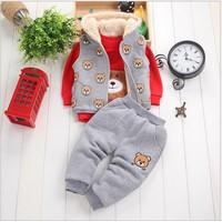 Bộ áo ghile + áo và quần nỉ mùa đông bé trai Hàn quốc V170