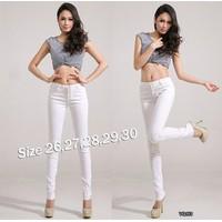 Quần jean trắng lưng cao 4 nút xinh xắn