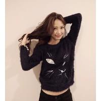 áo lông tay dài hình con mèo Mã: AK1190 - ĐEN