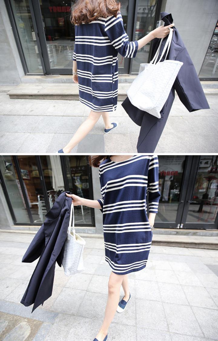 Đầm bầu suông sọc tay lỡ,kiểu dáng thanh lịch, phong cách hàn-d3041