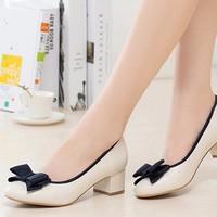 Giày da gót vuông nơ xinh cao cấp - LN948