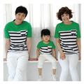 Đồng phục áo gia đình sọc phối màu thời trang sắc xanh tươi