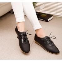 Giày oxford 2 phân da trơn màu đen