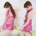 Váy ngủ xuyên thấu ren cổ chữ V + quần Chip