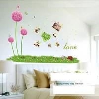 Decal Combo tú cầu hồng dạ quang+chữ love dạ quang+chân tường hoa cỏ 3