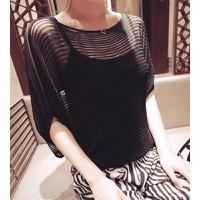 Áo len nữ cánh dơi sọc Mã: AC254 - ĐEN