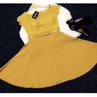 Shop Cún-Hàng Loại 1-Đầm Xoè Phối Ren Vải Tuyết Mưa Cao Cấp Sang Chảnh