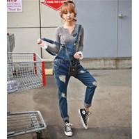 Quần jeans yếm rách Mã: QD671 - XANH ĐẬM