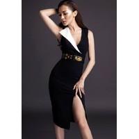 Đầm body đen xẻ đùi D282