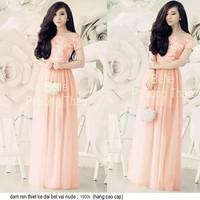 Đầm hồng maxi phối ren bẹt vai giống bella