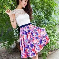 Đầm ren váy hoa tím - D046