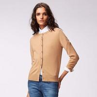 Cardigan lông cừu nữ màu 37 Brown hãng Uniqlo - hàng nhập Nhật