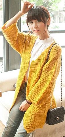 AL013 - HÀNG NHẬP KOREA - Áo khoác Cardigan len 2 túi, tay lửng 3