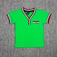 Áo thun cổ tim màu xanh lá BH390