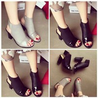Giày cao gót Sandal boot mũi bóng