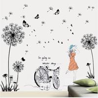Decal dán tường Combo Hoa bồ công anh đen + Cô gái và xe đạp