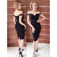 Đầm Body Cao Cấp Bẹt Vai Ren ĐEN G101