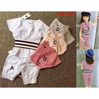 Bộ áo kè sọc ôm eo phối quần bo cực yêu cho bé từ 1-8 Tuổi