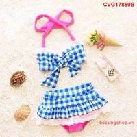 Đầm bơi caro thắt nơ nhập khẩu cực đẹp cho bé từ 1-8 Tuổi_CVG17850