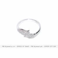 Nhẫn Đôi Cánh 2 bạc nguyên chất 925 xi vàng trắng