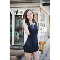 Bộ áo liền quần jumsuit giả váy kèm nịt xếp ly xinh xắn-AQ203