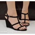 Sandal đế xuồng 3 quai ngang 7 phân màu đen-GX335