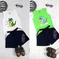 Set áo và quần trẻ em in thun hello baby