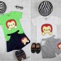 Set áo và quần trẻ em in thun hình khỉ