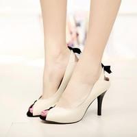 Giày cao gót hở mũi quai nơ xinh xắn - LN101