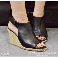 Sandal đế xuồng bọc cói hở mũi kiểu boot màu đen  - GX345