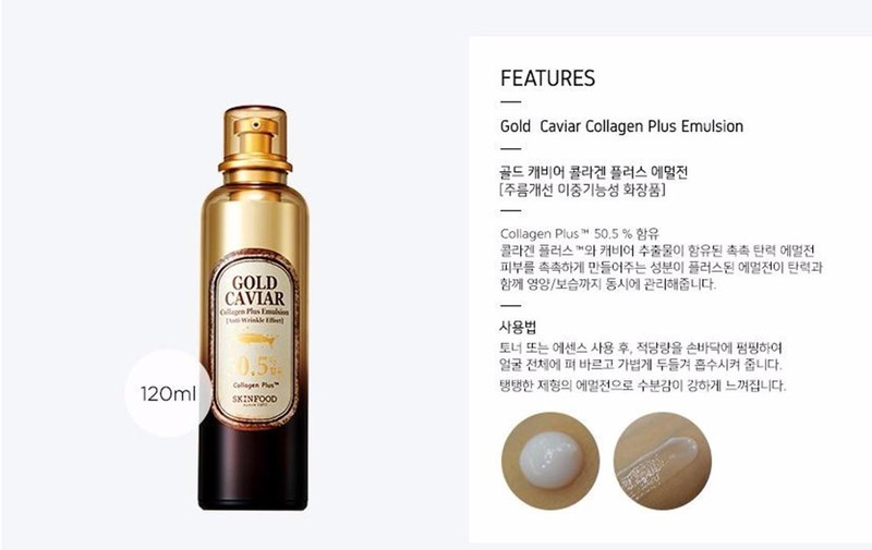 Sua duong da Skinfood Gold Caviar Collagen Plus Emulsion 120ml tai COSKOREA