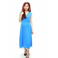 BIG SALE: Đầm maxi cổ chữ V - Xanh