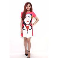 BIG SALE: Đầm suông họa tiết cô gái - Xanh, Cam