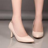 Giày cao gót da phối beo cao cấp - LN216